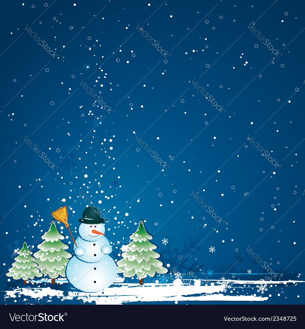 Christmas card with forest of pinesnowman vector | Price: 1 Credit (USD $1)