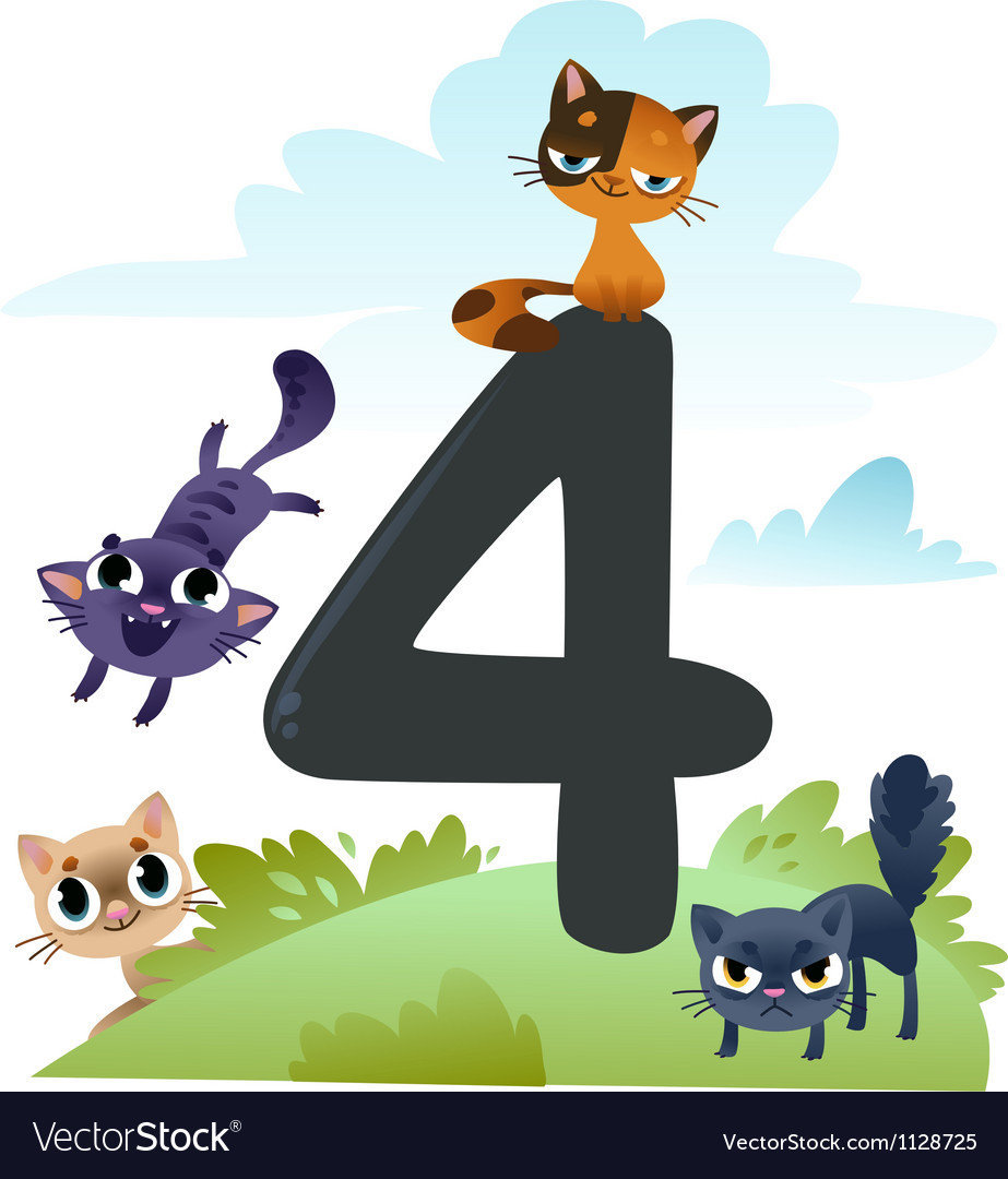 Collection number for kids farm animals - number 4 vector | Price: 1 Credit (USD $1)