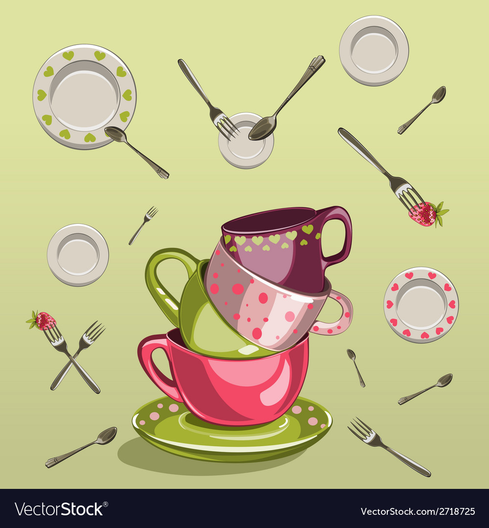 Cups with saucers forks and spoons vector | Price: 1 Credit (USD $1)