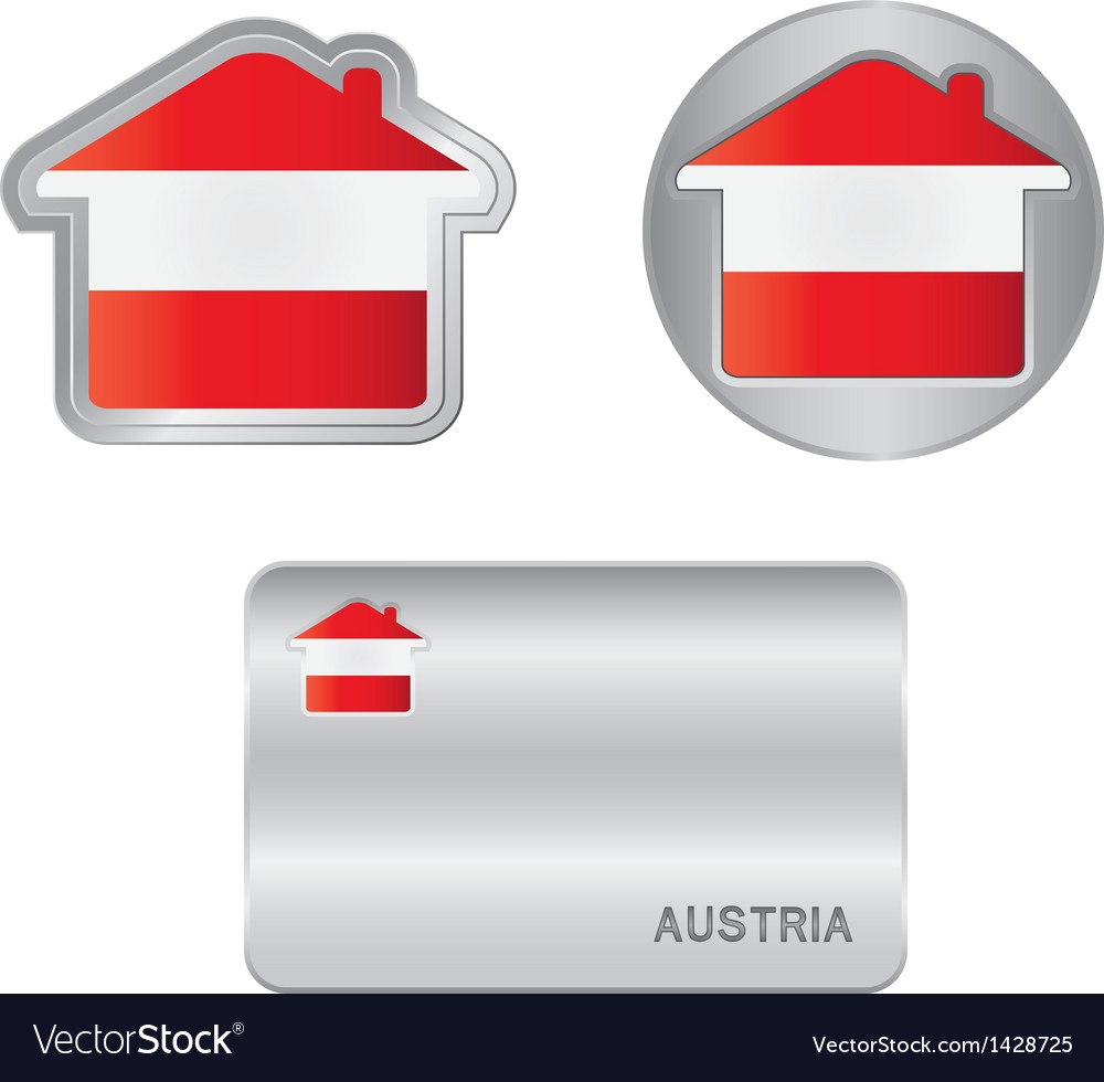 Home icon on the austrian flag vector | Price: 1 Credit (USD $1)