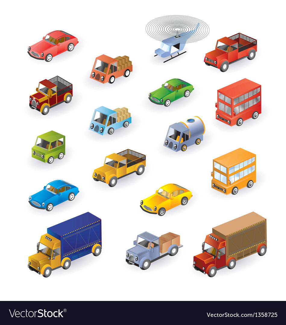 Isometric vehicles vector | Price: 1 Credit (USD $1)