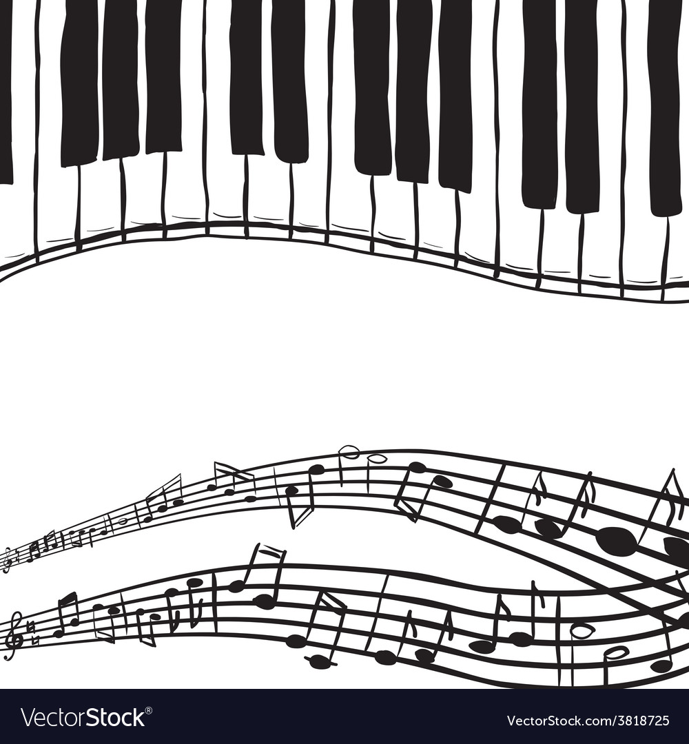 Piano keys and music notes vector | Price: 1 Credit (USD $1)
