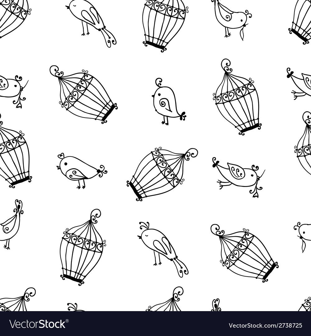 Seamless cute birds with cages pattern vector | Price: 1 Credit (USD $1)