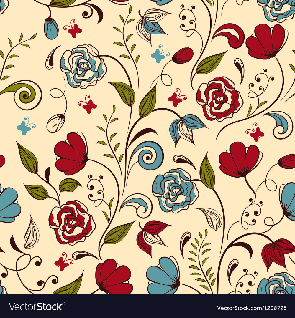 Seamless floral spring pattern vector | Price: 3 Credit (USD $3)