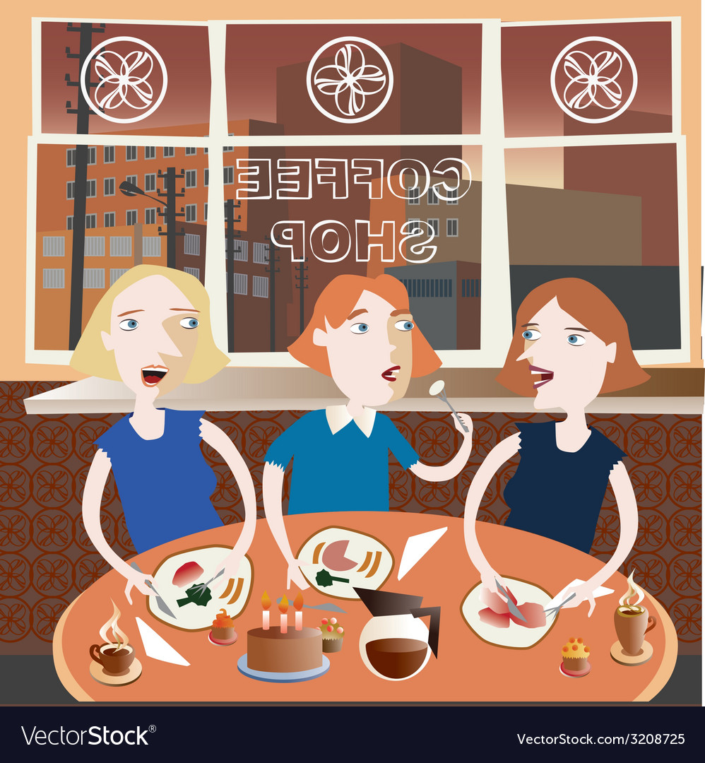 Three best friends in the coffee shop vector | Price: 1 Credit (USD $1)