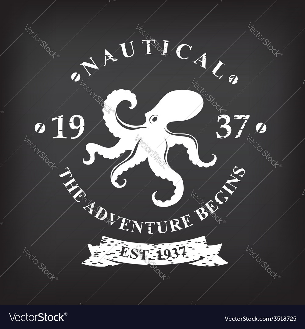 T-shirt print design nautical marine badge design vector | Price: 1 Credit (USD $1)