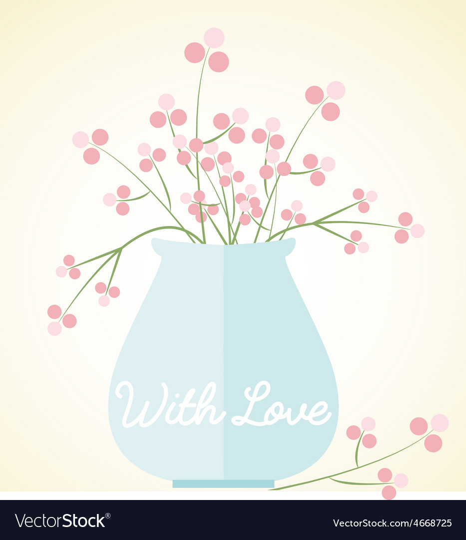 Vase flowers card with love mothers day valentines vector | Price: 1 Credit (USD $1)
