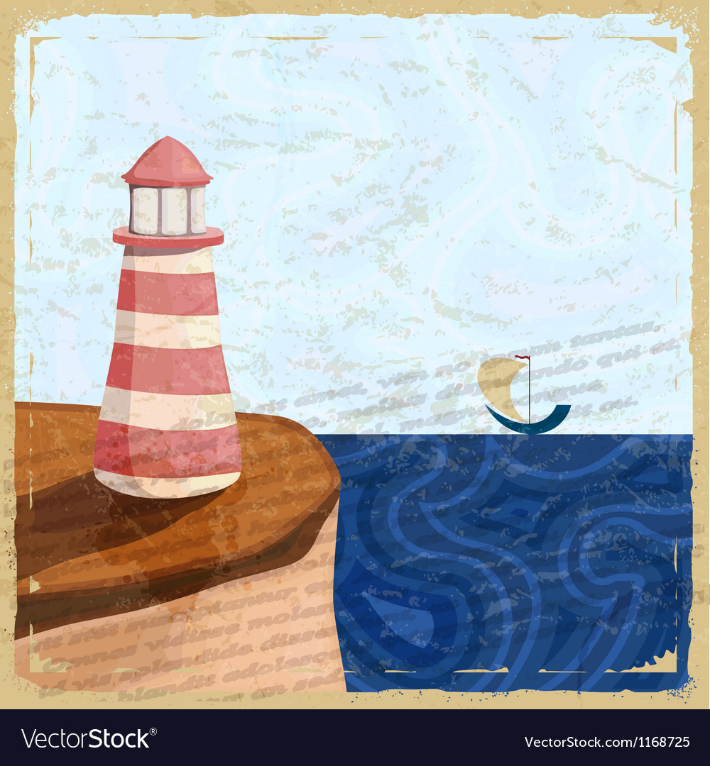 Vintage postcard with a lighthouse and a small boa vector | Price: 1 Credit (USD $1)