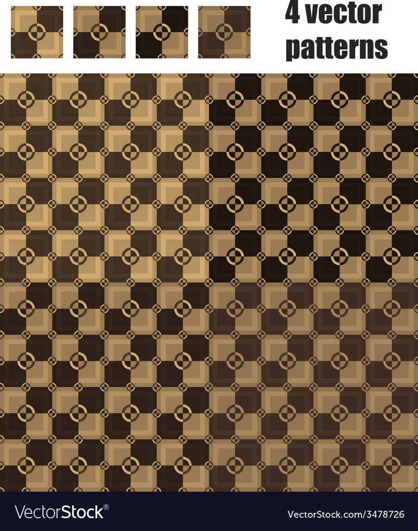 4 circle and square patterns wood chocolate colors vector | Price: 1 Credit (USD $1)