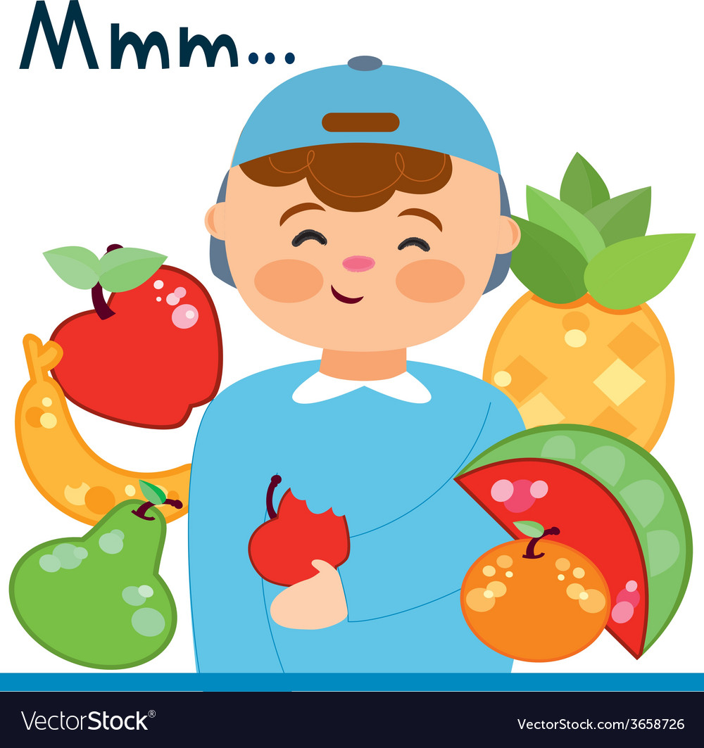 Child with fruits vector | Price: 1 Credit (USD $1)