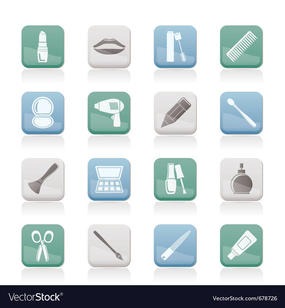 Cosmetic and hairdressing icons vector | Price: 1 Credit (USD $1)