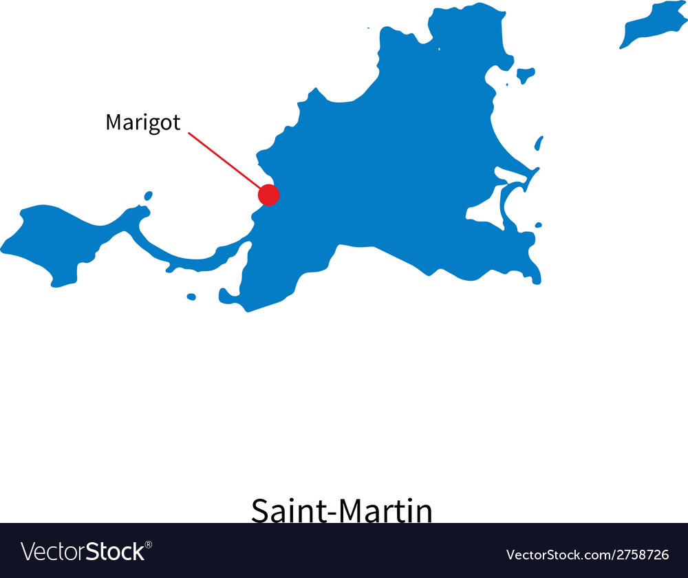 Detailed map of saint-martin and capital city vector | Price: 1 Credit (USD $1)