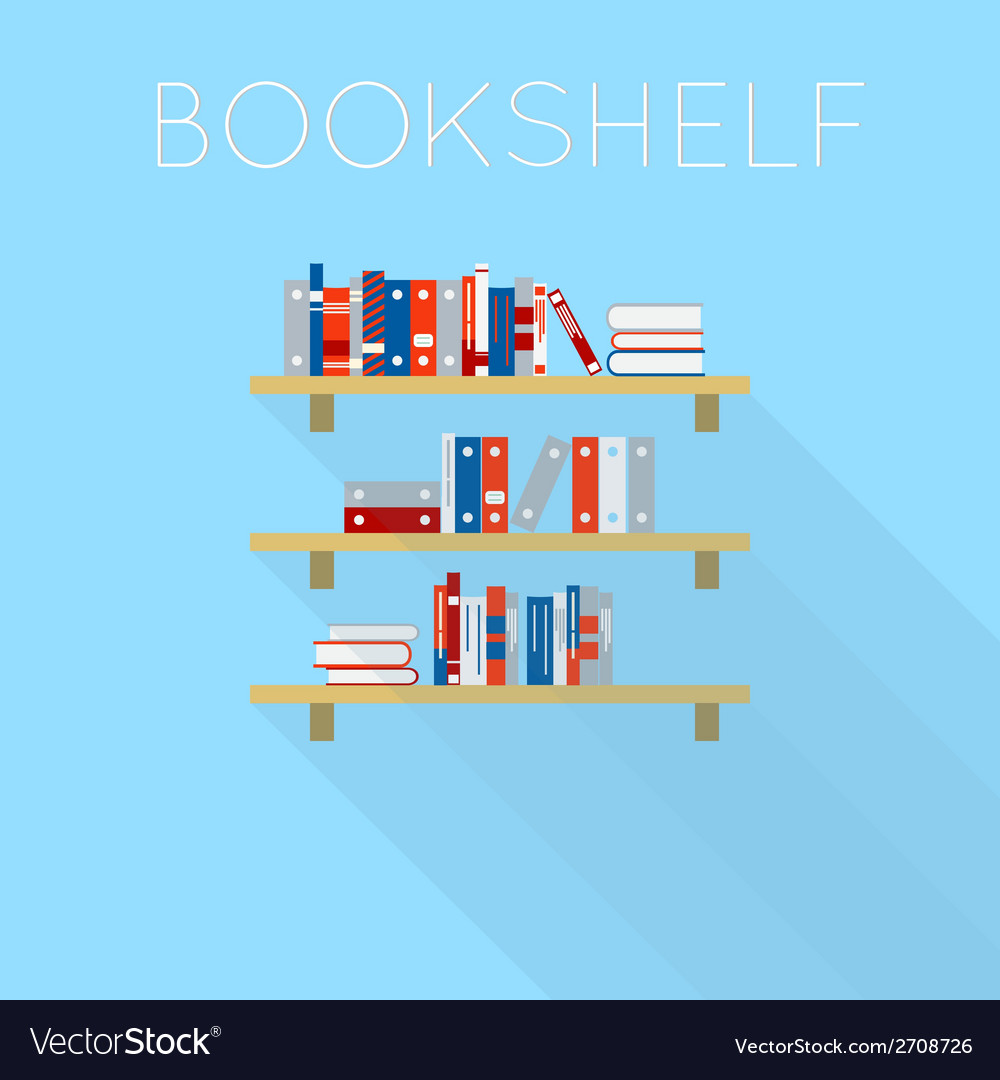Flat-style design of three bookshelfs with books vector | Price: 1 Credit (USD $1)