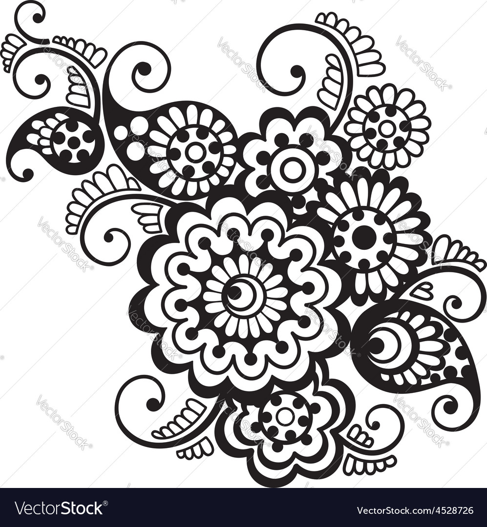 Floral pattern element indian ornament vector | Price: 1 Credit (USD $1)