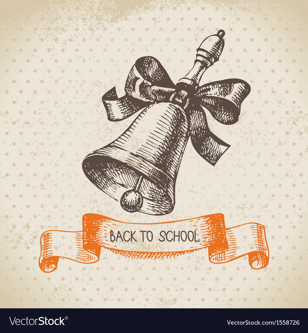 Hand drawn back to school vintage background vector   Price: 1 Credit (USD $1)
