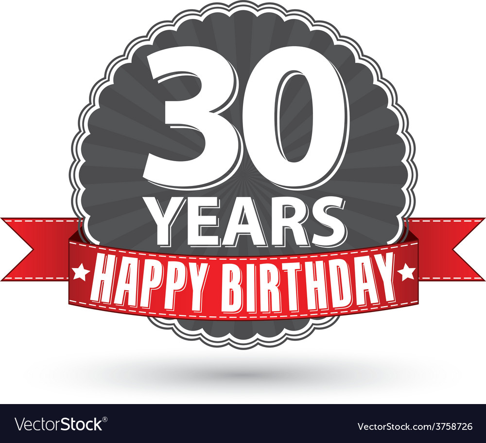 Happy birthday 30 years retro label with red vector | Price: 1 Credit (USD $1)