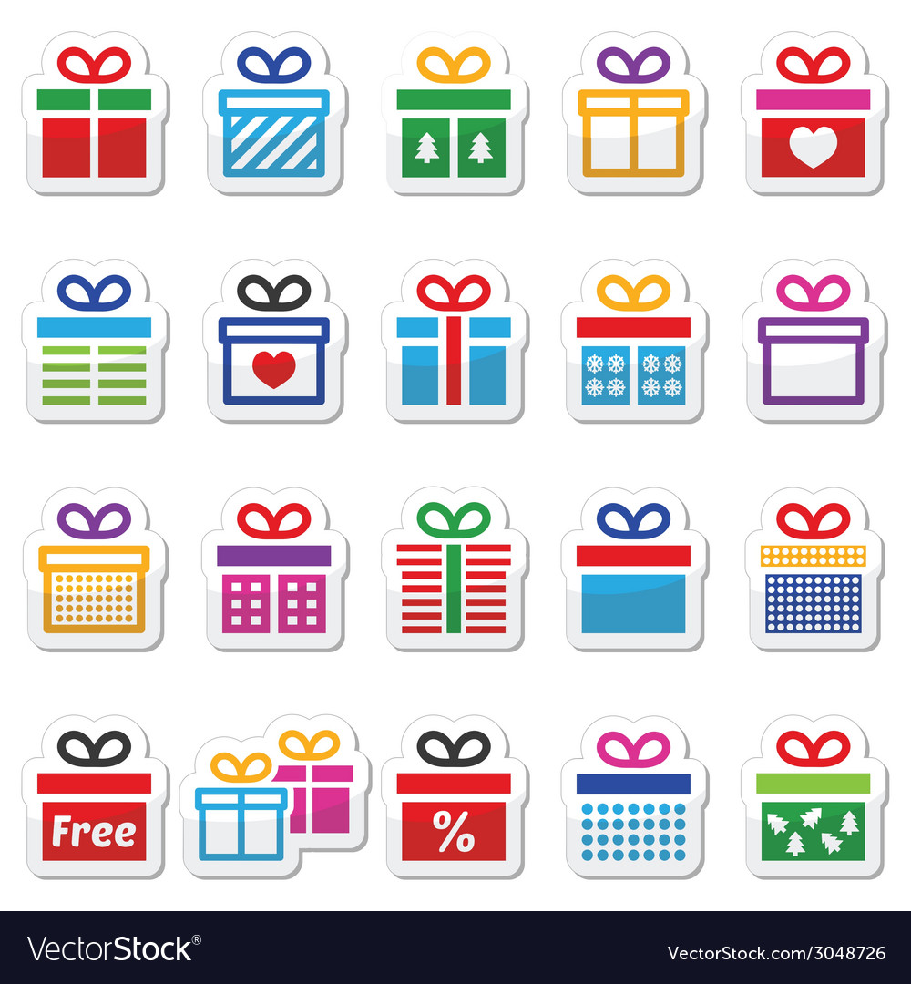 Present gift box colorful icons set vector | Price: 1 Credit (USD $1)