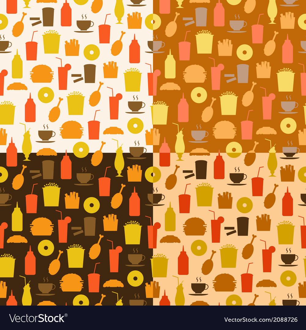 Set of seamless pattern of fast food icons vector | Price: 1 Credit (USD $1)