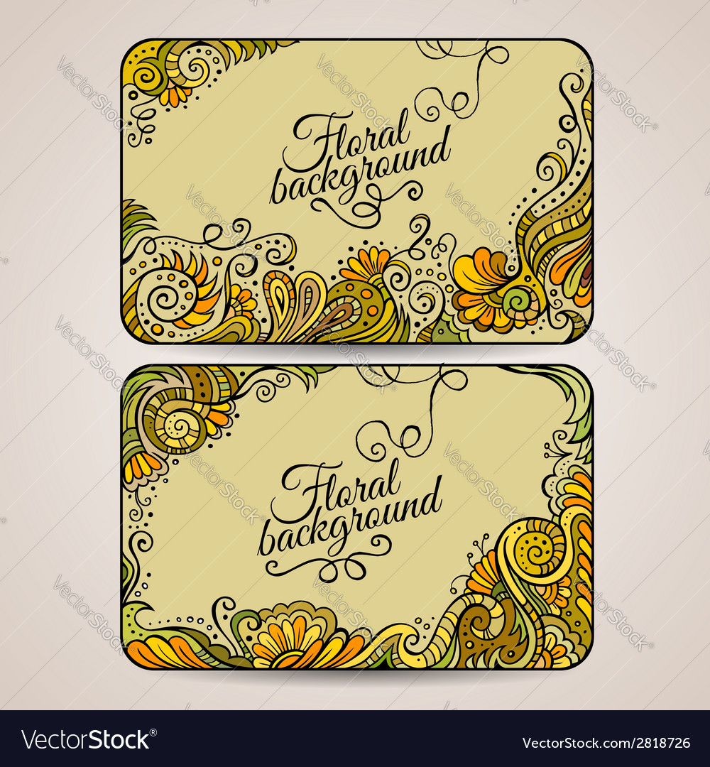 Set of two floral decorative frames vector | Price: 1 Credit (USD $1)