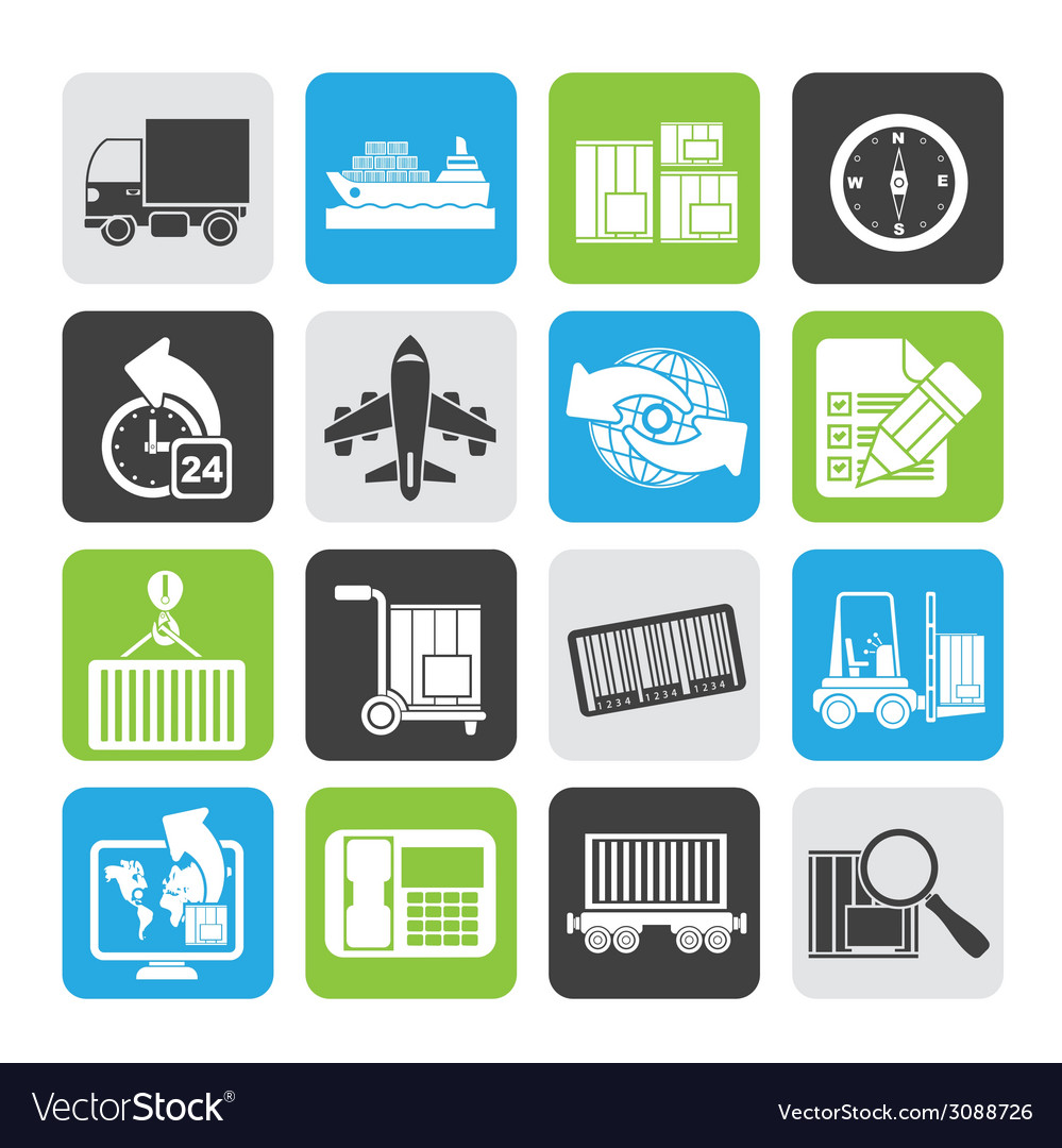 Silhouette shipping and logistics icons vector | Price: 1 Credit (USD $1)