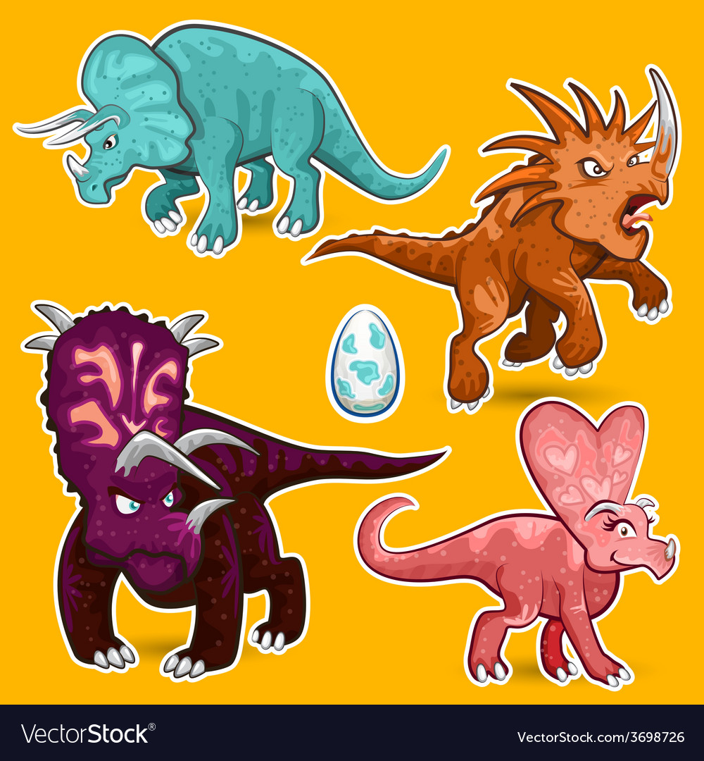 Triceratops rhino dinosaurs sticker collection set vector | Price: 3 Credit (USD $3)
