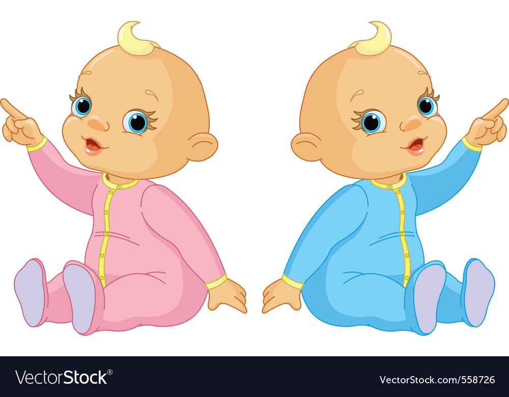 Two adorable babies the girl and the boy pointing vector | Price: 1 Credit (USD $1)
