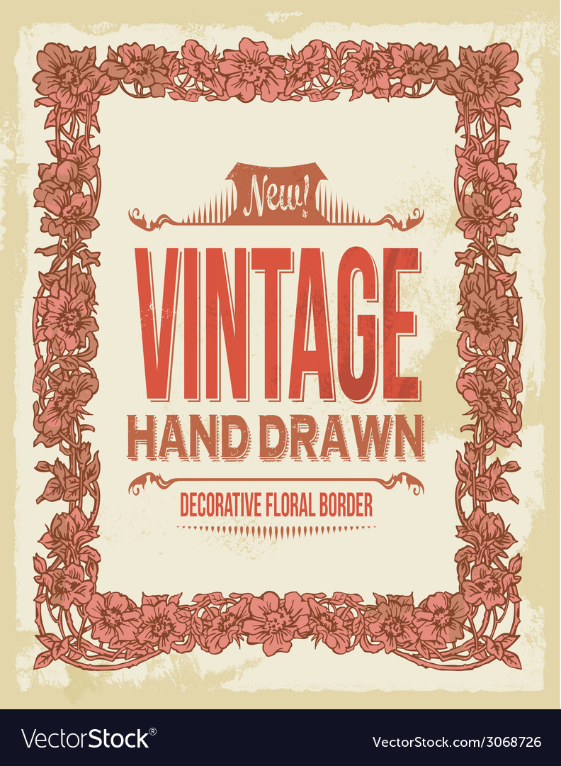 Vintage decorative floral border vector | Price: 1 Credit (USD $1)