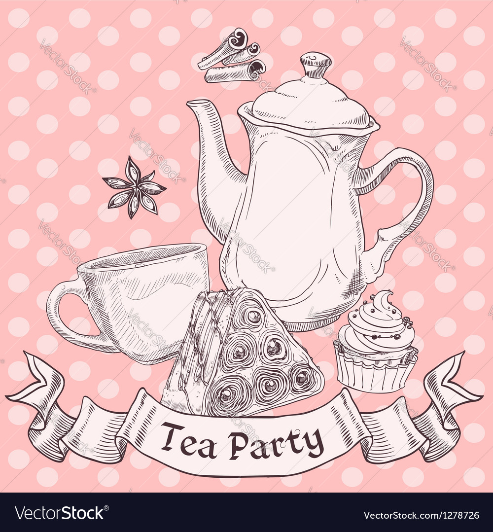 Vintage sweets and tea - tea party banner vector | Price: 1 Credit (USD $1)