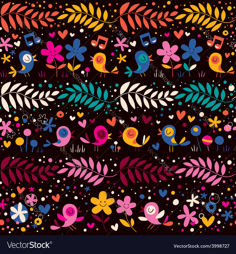 Birds and flowers pattern 2 vector | Price: 1 Credit (USD $1)