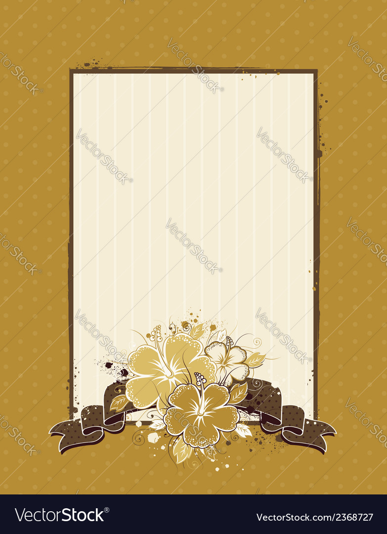 Bouquet of hibiscus on grunge beige background vector | Price: 1 Credit (USD $1)