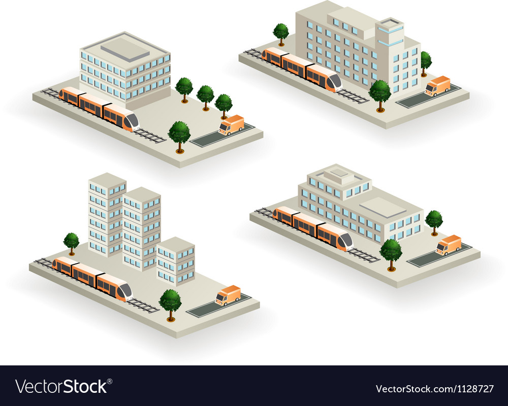 Buildings with urban transport vector | Price: 1 Credit (USD $1)