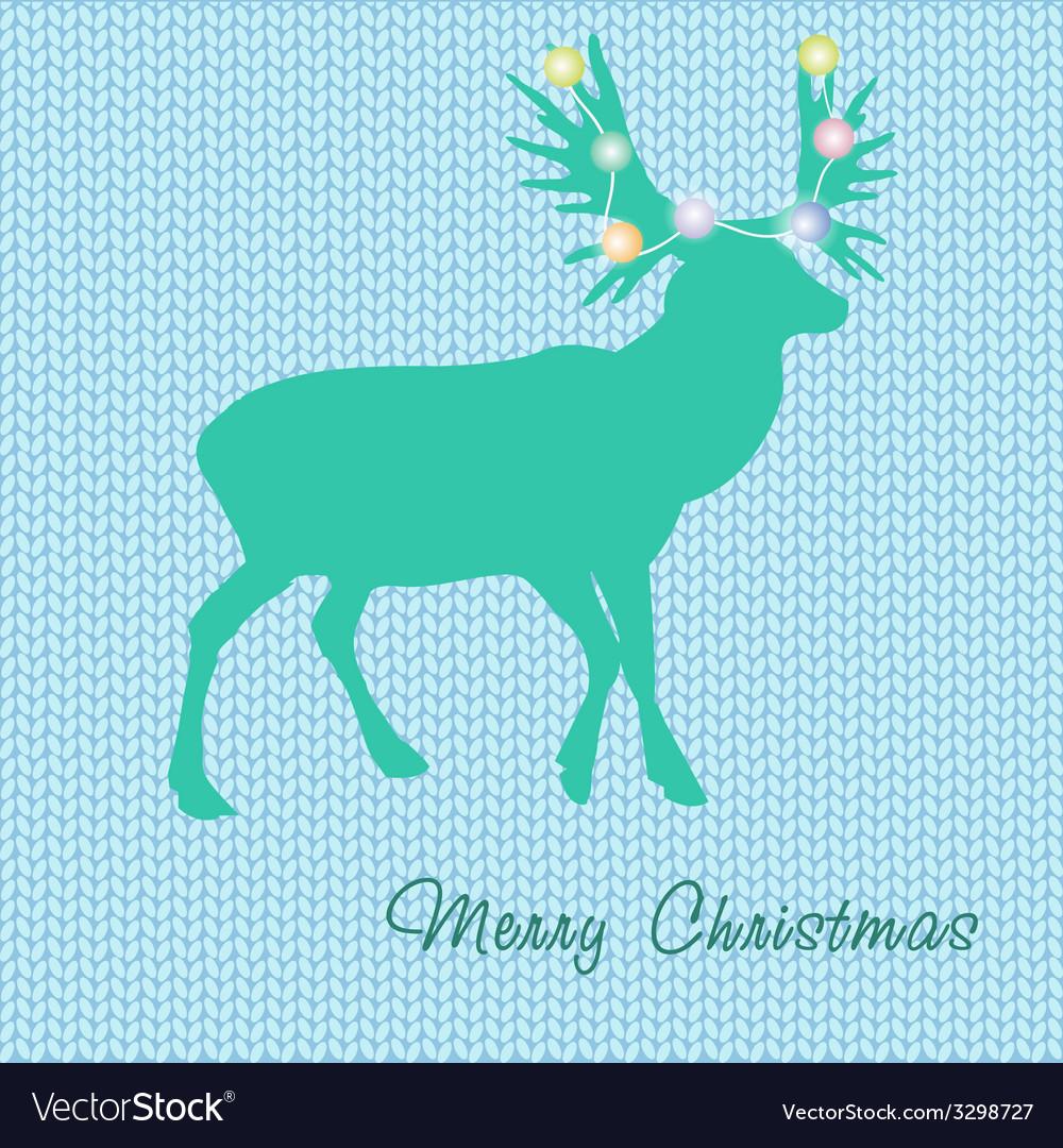 Christmas card with reindeer in santa hat vector   Price: 1 Credit (USD $1)
