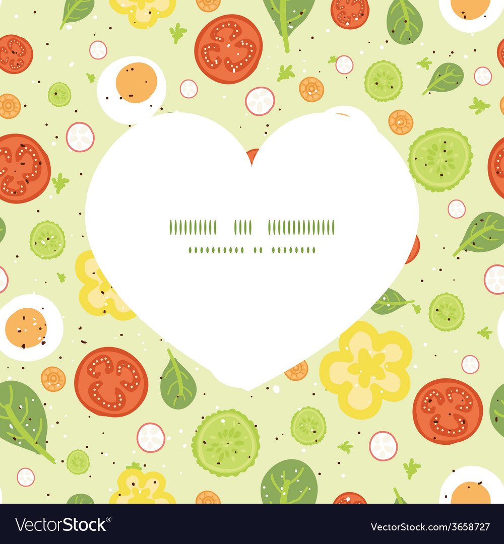 Fresh salad heart silhouette pattern frame vector | Price: 1 Credit (USD $1)