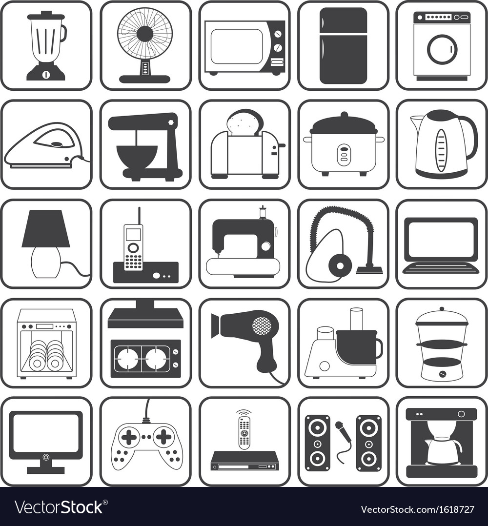 Home appliance icons set vector | Price: 1 Credit (USD $1)