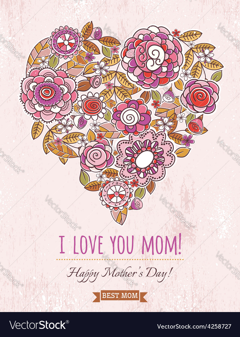 Pink mothers day card with big heart of flowers vector | Price: 1 Credit (USD $1)