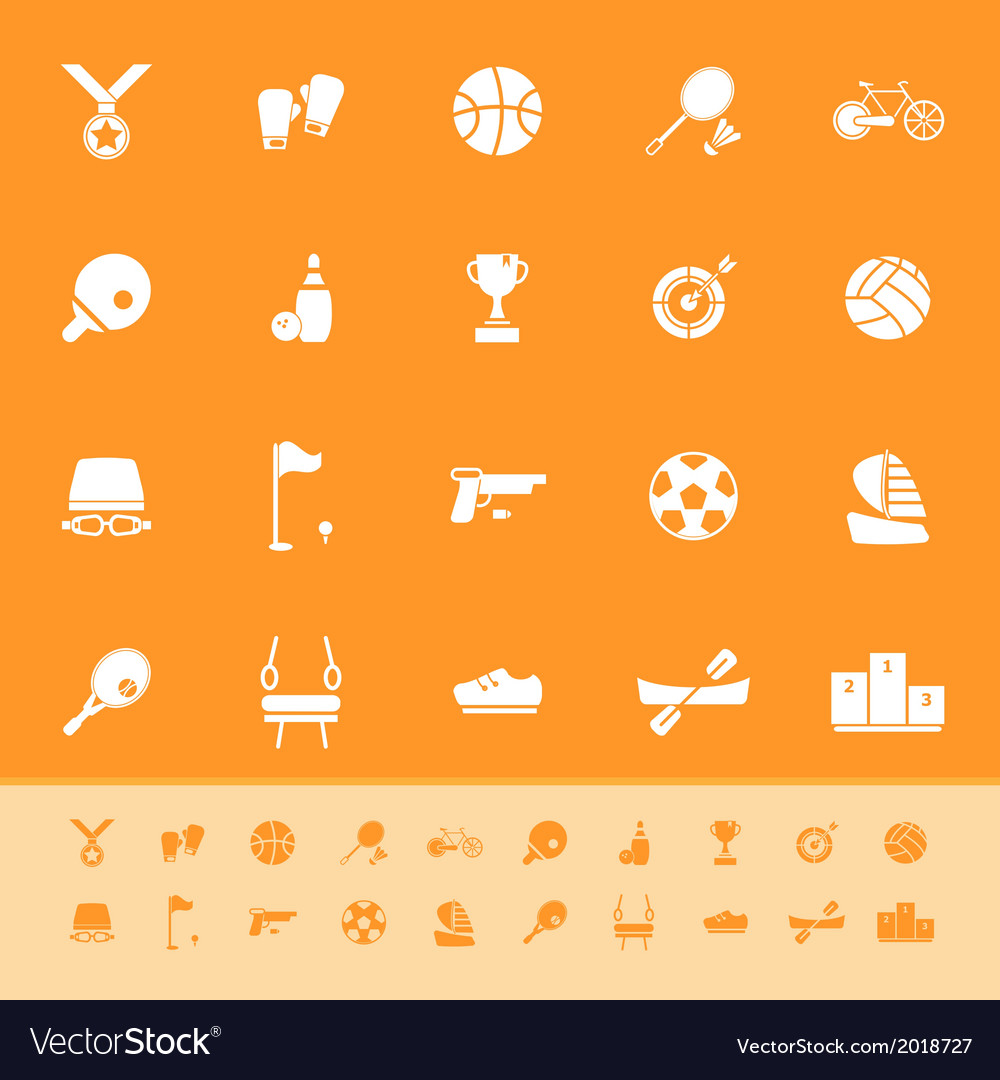Sport game athletic color icons on orange vector | Price: 1 Credit (USD $1)