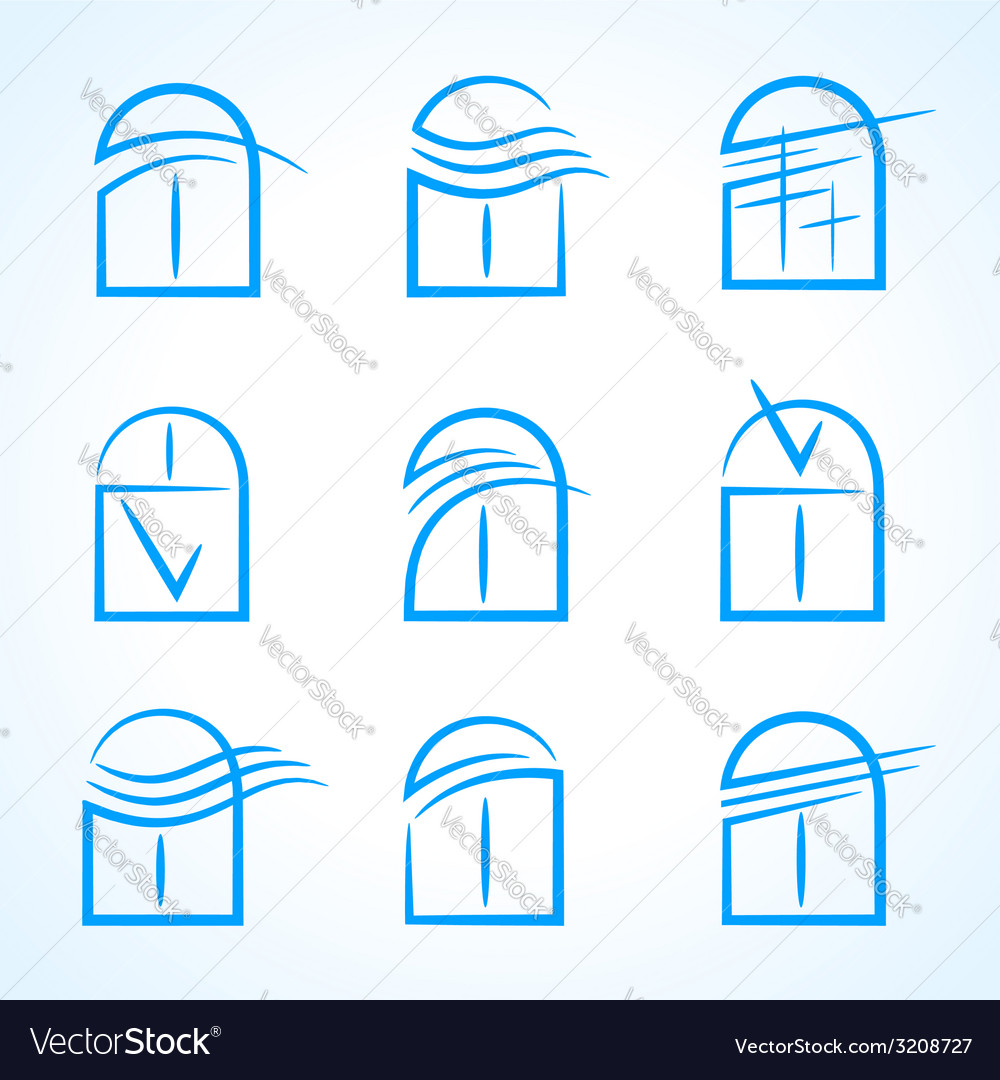 Windows set emblem symbol element icons vector | Price: 1 Credit (USD $1)