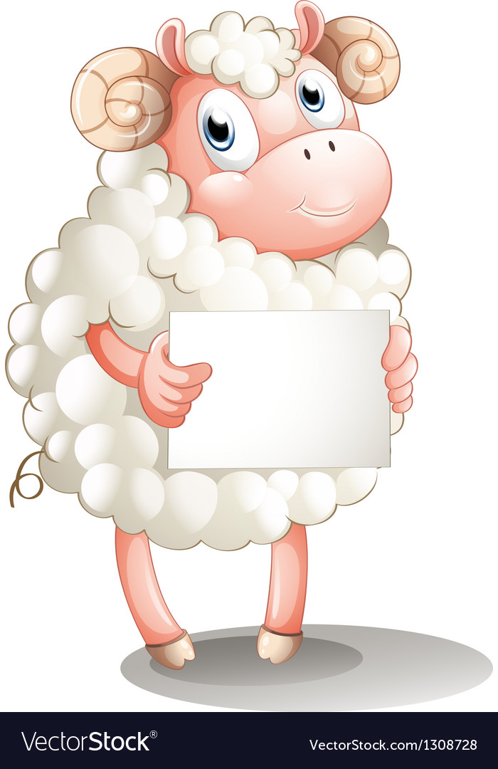 A sheep with a blank signboard vector | Price: 1 Credit (USD $1)