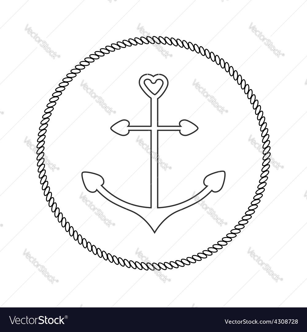 Anchor in shapes of heart round rope frame label vector | Price: 1 Credit (USD $1)