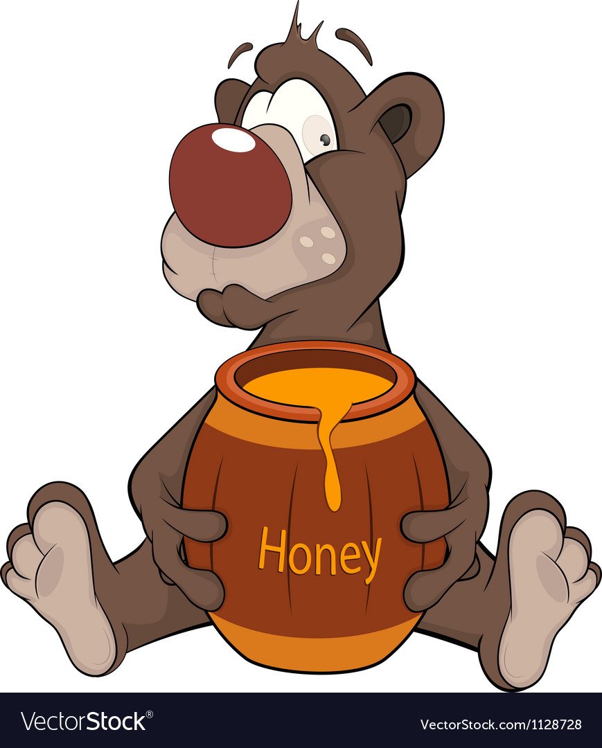 Bear and a wooden keg with honey cartoon vector | Price: 1 Credit (USD $1)