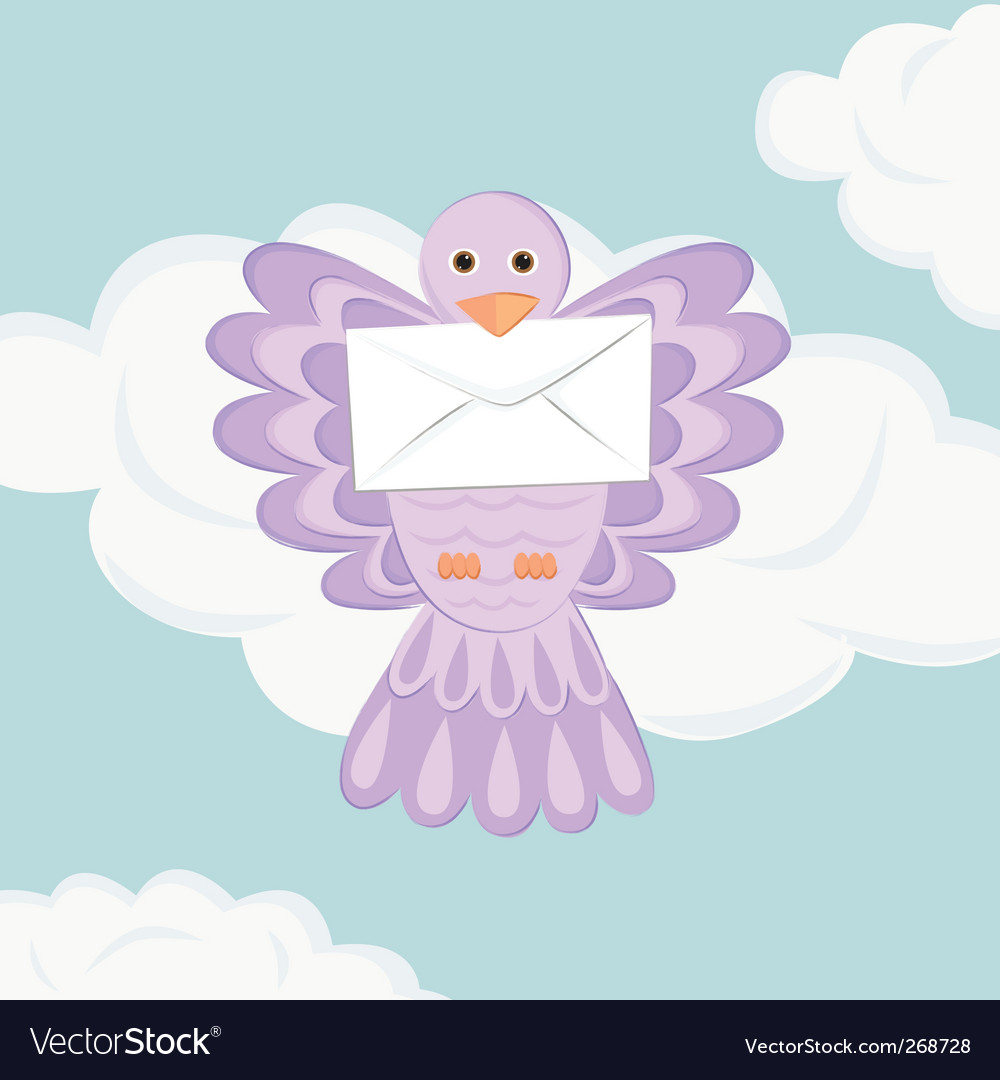 Bird with mail vector | Price: 1 Credit (USD $1)