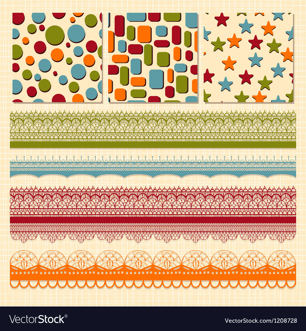 Bright seamless paterns and seamless lacy ribbons vector | Price: 3 Credit (USD $3)
