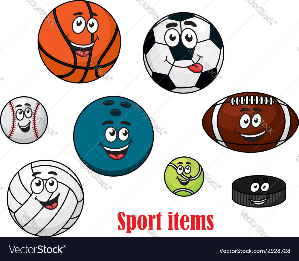Cartoon sport ball characters vector | Price: 1 Credit (USD $1)
