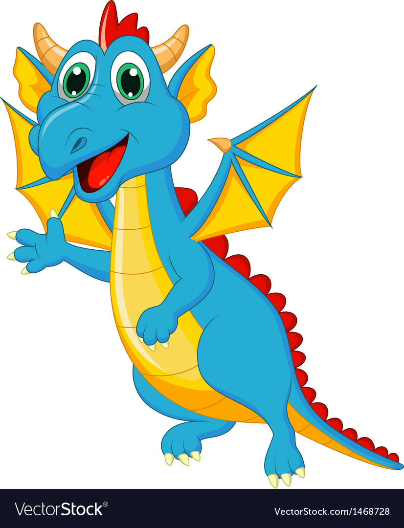 Cute dragon cartoon vector | Price: 1 Credit (USD $1)