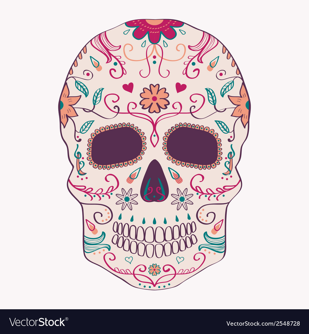 Day of the dead skull with ornament vector | Price: 1 Credit (USD $1)