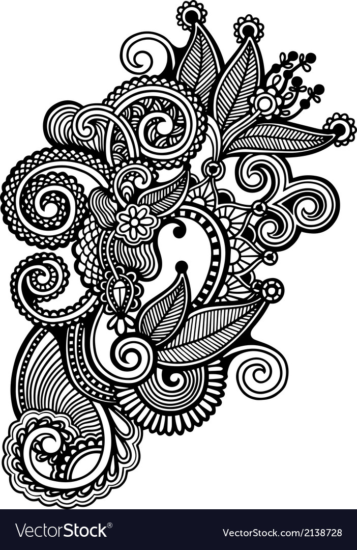 Hand draw line art ornate flower design vector | Price: 1 Credit (USD $1)