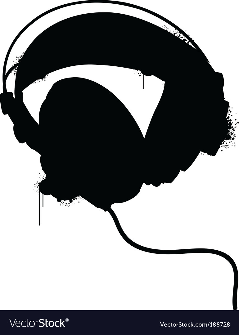 Headphones silhouette vector | Price: 1 Credit (USD $1)