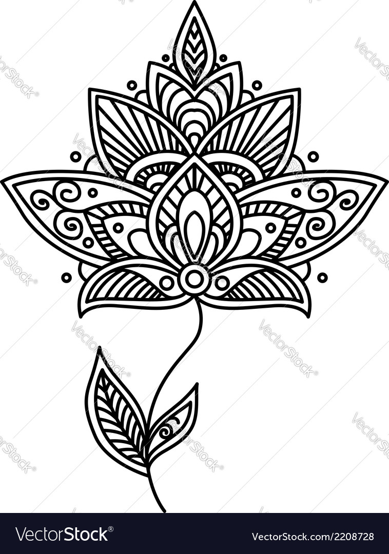 Ornate persian floral design element vector | Price: 1 Credit (USD $1)