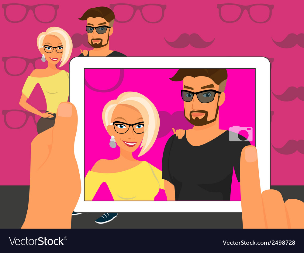 Photographing of happy couple on fuchsia vector | Price: 1 Credit (USD $1)
