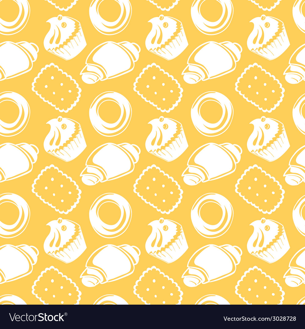 Seamless pattern outline delicious pastries vector | Price: 1 Credit (USD $1)